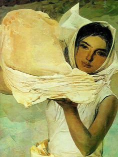 """Intense..great color contrast  Armenian girl and lavash bread """"Corn Crops in the Mountains"""" by Grigor Khandjyan, 1972."""