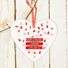 Personalised Ceramic Christmas Traditional Heart Decoration