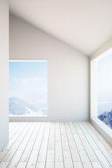 Empty light wooden interior