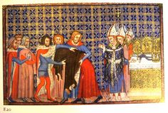 """F. 20. The Removal of the King's Surcoat. Coronation book of Charles V. Paris, 1365. From """"Illuminating Fashion: Dress in the Art of Medieval France and he Netherlands, 1325-1515."""""""