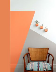 Home Interior Decoration RDH Coral: The perfect mix of pink and orange. Soft enough for a whole room and bold enough for an accent wall. Part of RDH Collection A collaboration between Colorhouse and Revolution Design House Bedroom Wall, Bedroom Decor, Wall Decor, Bed Wall, Bedroom Ideas, Geometric Wall Paint, Geometric Decor, Coral Walls, Peach Walls