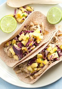 Jerk Chicken Tacos with Pineapple Slaw Jerk Chicken, Sweet And Spicy Chicken, Slow Cooked Chicken, Chicken Tacos, How To Cook Chicken, Pulled Chicken, Slow Cooker Huhn, Best Slow Cooker, Slow Cooker Recipes