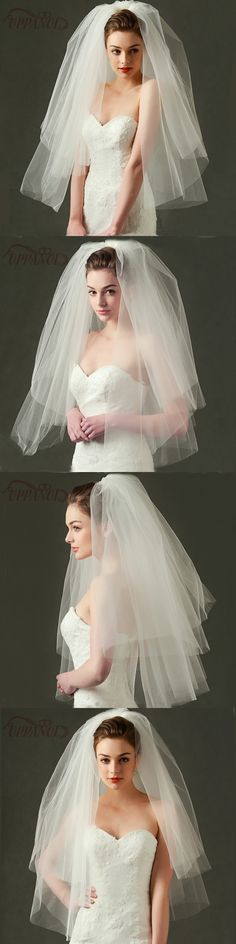 Wedding Bridal Veil with Comb Multi Layer Cut Edge White Ivory Tulle Bridal Veils
