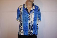 JAMS WORLD Shirt Blouse Sz L BLUE PATCH Short Sleeves Crinkled Floral Button #JamsWorld #ButtonDownShirt #Casual