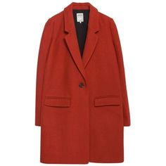 Pre-owned Zara New Tags Masculine Wool Jacket M Nwt Pea Coat (1.040 DKK) ❤ liked on Polyvore featuring outerwear, coats, jackets, coats & jackets, tops, terracotta, wool coat, red peacoat, wool peacoat and pea jacket