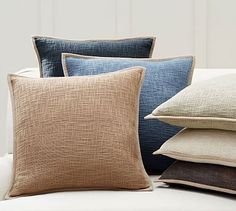 Choose the denim color for the rustice version of the blue color way. Basketweave Pillow Cover #potterybarn