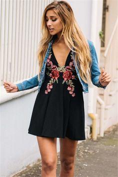 V-Neck Rose Embroidery Tank Dress - FashionandLove.com