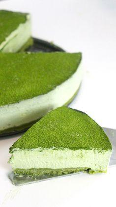Matcha Green Tea No-Bake Cheesecake - Greentea Baked Cheesecake Recipe, No Bake Cheesecake, Green Tea Cheesecake, Coconut Dessert, Green Tea Recipes, Brownie Desserts, Matcha Green Tea Powder, Cafe Menu, Savoury Cake