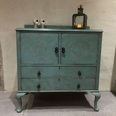 NOW SOLD! Charming Vintage Turquoise Hand Painted Cabinet With Two Drawers Cabriole Legs Handmade