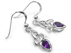 Beautiful sterling silver earrings with a Celtic design and featuring amethyst teardrop faceted stones. Matching the Celtic trinity amethyst pendant. Amethyst is the birthstone for February which is believed to be a calming stone. Celtic Designs, Amethyst Pendant, Sterling Silver Earrings, Birthstones, Belly Button Rings, Swarovski Crystals, Indigo, Birth Stones, Indigo Dye