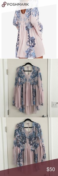 NWT Free People Intimately Sheer Dress, Size Small NWT Free People Intimately Sheer Dress, Size Small. Color: Petal Combo, pink with blue swirl design. Gypsy sleeves. Flow-y material. Delicate and beautiful. Free People Dresses Long Sleeve