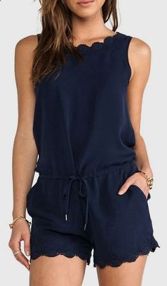 Joie Carenza Lace Trim Romper in Dark Navy