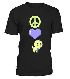 Cute Kawaii Peace Love Dinosaurs Cartoon T-Shirt  Funny Purple Heart T-shirt, Best Purple Heart T-shirt