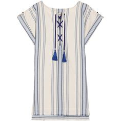 LemLem Halima striped cotton and linen-blend mini dress (3340 MAD) ❤ liked on Polyvore featuring dresses, white dress, white boho dress, stripe dresses, mini dress and lace up mini dress