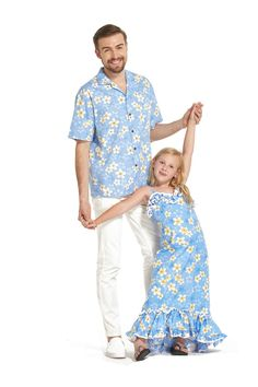 67026701362c Made in Hawaii Father Daughter Matching Shirt and Girl Maxi Muumuu Dress  YELLOW PLUMERIA IN Blue
