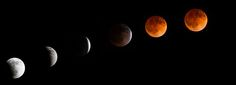 Photographer Tyler Leavitt of Las Vegas, Nevada, took this series of photos of the total lunar eclipse on April 15, 2014 as the moon appeared from his front driveway.