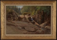 """Ausable River,"" George Henry Smillie, 1870, oil on canvas, 14 x 21"", Adirondack Museum."