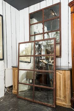 "pair of aged glass cast iron windows  pair of aged glass cast iron windows  H 158cm (62.2"")W 112cm (44.1"")D 5cm (2"") £1100.00 each"