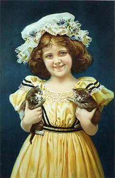 1900 Victorian Parlor Print Girl with Kittens Vintage Cat Poster