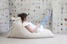 Hand-Knit Beanbag Chairs Are the Stylish *and* Cozy Furniture You NEED via Brit + Co