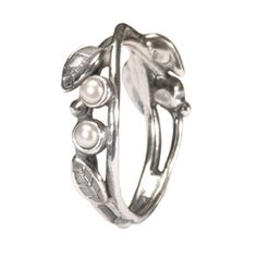 Pearls and Leaves Ring  #pearl #leaves #ring #silver #nature #trollbeads