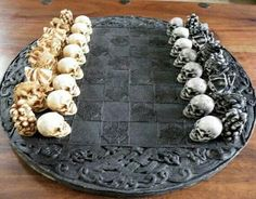 Skull Chess Set/ Pieces (Board Not Included) Chess Set Unique, Chess Table, Kings Game, 3d Prints, Chess Pieces, Skull And Bones, Skull Art, Skull Decor, Wood Carving