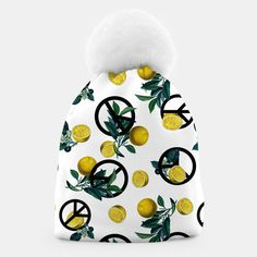 Peace Symbol and Lemon Patterns Beanie, Live Heroes Cute Beanies, Unique Image, Winter Hats, Lemon, Peace, Patterns, Live, Block Prints, Patrones