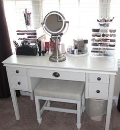 White Painted Wooden Make Up Table With Portable Small Rounded Mirror. The  Most Popular Mirrored Vanity Desk Ideas