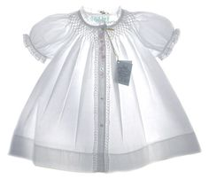 NEW Feltman Brothers White Smocked Daygown with Pink Embroidery $50.00