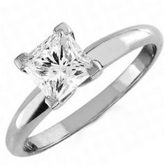 1 carat Solitaire PRINCESS cut ENGAGEMENT RING 14K white GOLD Jewelry Discount , Giamond shinier than most Diamonds