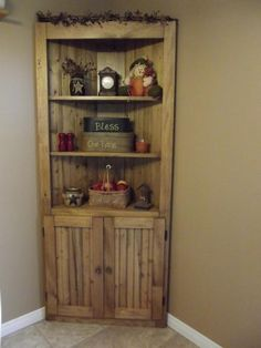 Make a corner useful! Rustic Country Wood Pine Corner Cupboard Do It Yourself Home Projects Furniture Plans from Ana White Pallet Furniture, Furniture Projects, Rustic Furniture, Home Projects, Furniture Plans, Furniture Design, Primitive Furniture, Furniture Nyc, Furniture Removal