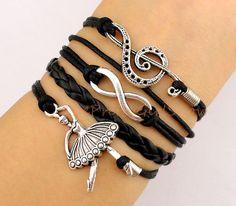 Infinity wish Treble Cleff bracelet Ballerina by ThePrettyGirlShow, $4.99