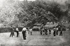 Soldiers playing cricket in Taranaki, about 1866 Birth Of Nation, Non Commissioned Officer, Pistol Holster, Cricket Match, Othello, Lest We Forget, Flannels, Colonial, New Zealand