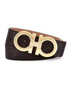 N2T9E Salvatore Ferragamo Python Double-Gancini Belt, Black