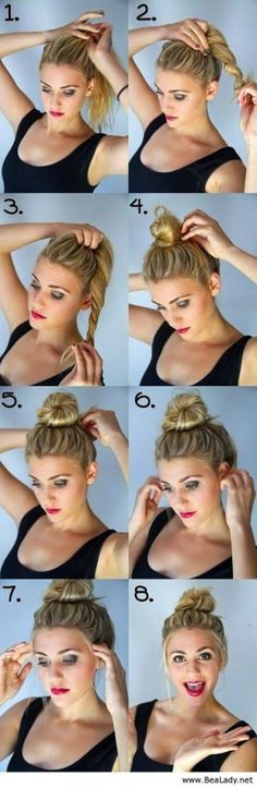Easy DIY step by step tutorial guide for an easy bun