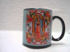 This is a Virgin of Guadalupe color change coffee mug. The mug is a dark color when cool, add a warm drink into it and like miracle the picture of the Virgin of Guadalupe appears on it. This miraculous cup can be yours, purchase at www.amazon.com/shops/teranewgifts