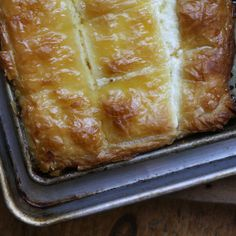 Mutabbaq (ricotta, Vermont chevre, honey, a squeeze of lemon juice, and flakey layers of butter-poached filo dough).