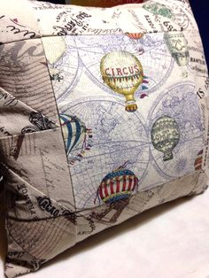 Inspired by two of my favourite things: hot air balloons and Paris! 20 inch square pillow - cotton linen fabric - wood flower buttons.