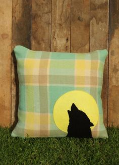 FINCH howling wolf cushion cover New Zealand Wool Applique Pillows, Throw Pillows, Blanket Coat, Wolf Howling, Cushion Covers, New Zealand, Decorative Pillows, Upcycle, Custom Design