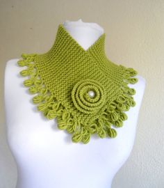 Apple green neckwarmers, autumn, wool, hand-knitted