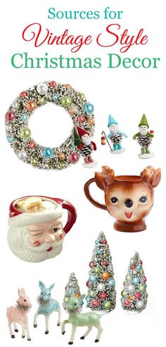 Your guide to finding reproduction vintage Christmas decorations at the big chain stores. No need to spend all your time scouring estate sales anymore to get the nostalgic vintage inspired Christmas look! Score!