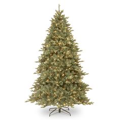 "National Tree Company 7.5Ft ""Feel-Real"" Auburn Spruce Blue Hinged Tree with Clear Lights"