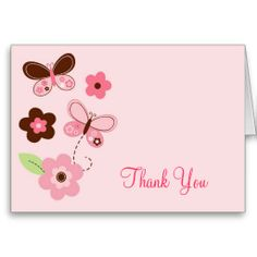 Butterfly Flowers Thank You Note Cards