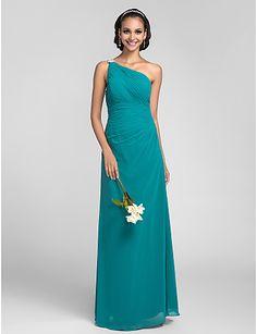 bruidsmeisje jurk vloer lengte georgette schede colum een schouder jurk - EUR € 86.36