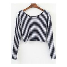 SheIn(sheinside) Black Striped Long Sleeve Crop T-Shirt ($9.99) ❤ liked on Polyvore featuring tops, t-shirts, black, long sleeve polyester t shirts, striped long sleeve tee, long sleeve tops, round neck t shirt and crop tee