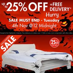 #Halloween celebrations are over but our special sale isn't! Get up to 25% off on French #sleighBeds, wardrobes, & much more. #Sale ends on 4th November. So, HURRY UP!