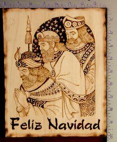 Pirograbado en Madera. Reyes Magos. Por Rafael Cardona. Artesano Puertorriqueño. 4 horas de trabajo. Mide 8 x 10. www.facebook.com/miartesanopr