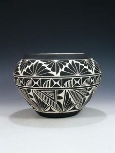 Acoma Pueblo Etched Black and White Pottery