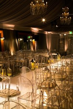 Dimly Lit Ceremony with Gold & White |   Photography: Callaway Gable. Read More:  http://www.insideweddings.com/weddings/festive-new-years-eve-wedding-with-surprises-in-beverly-hills/803/