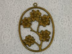 Vintage Metal Flower Wall Hanging  Free by PantoisPapillon on Etsy, $25.00